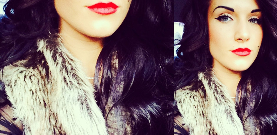 dark violet hair color and loose curls